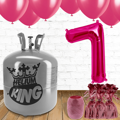 7th Birthday Helium Gas Package with Pink Balloons