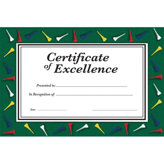 Golf Theme Award Certificates - Pack of 8