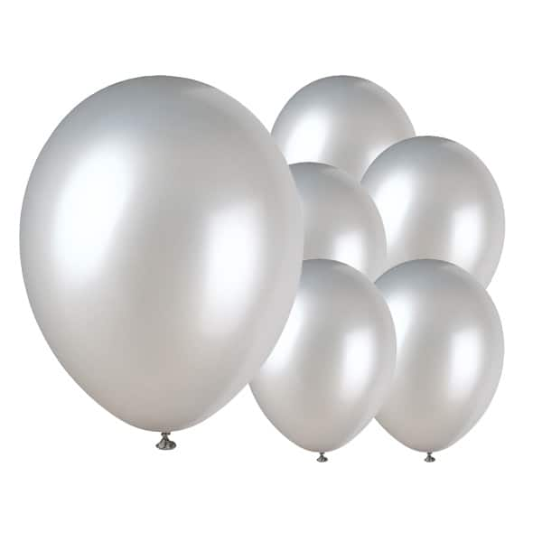 Shimmering Silver Biodegradable Latex Balloons - 12 Inches / 30cm - Pack of 8 Product Image