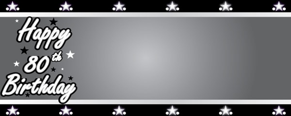 Happy 80th Birthday Silver Stars Design Medium Personalised Banner - 6ft x 2.25ft