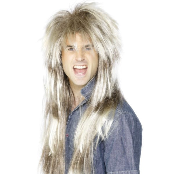 80's Pat Sharp Blonde and Brown Mens Long Wig