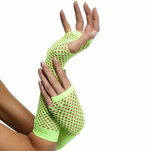 80's Style Neon Green Long Fishnet Fancy Dress Gloves