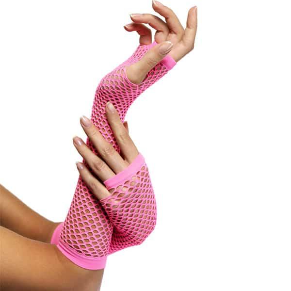80's Style Pink Long Fishnet Fancy Dress Gloves