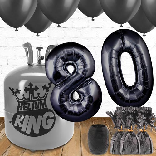 80th Birthday Black Balloons And Helium Gas Package