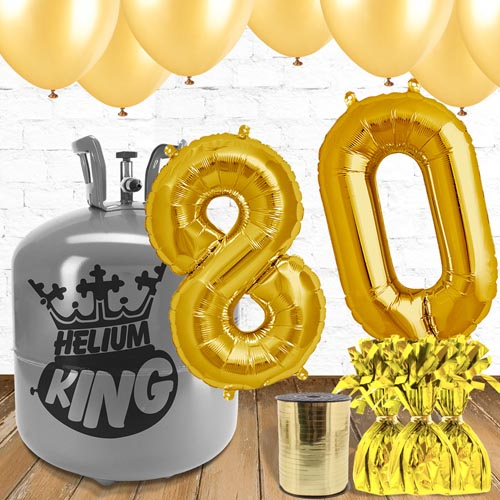 80th Birthday Gold Balloons And Helium Gas Package