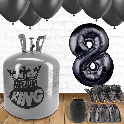 8th Birthday Helium Gas Package with Black Balloons Product Image