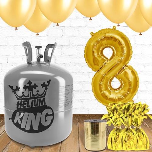 8th Birthday Helium Gas Package with Gold Balloons Product Image