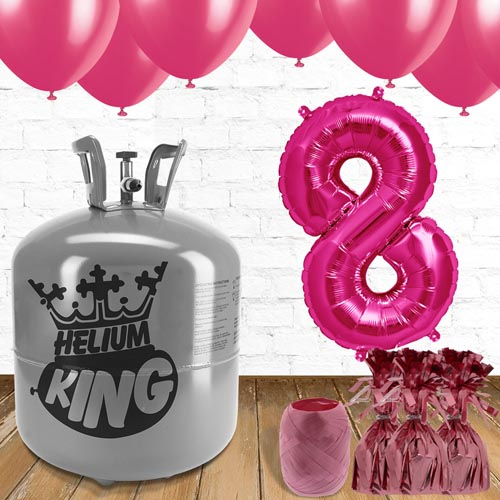 8th Birthday Helium Gas Package with Pink Balloons