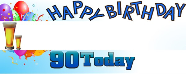 Happy 90th Birthday First Pint Design Small Personalised Banner- 4ft x 2ft