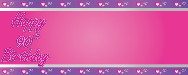 Happy 90th Birthday Pink and Purple Hearts Design Medium Personalised Banner - 6ft x 2.25ft