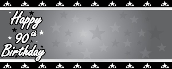 Happy 90th Birthday Faded Stars Design Small Personalised Banner- 4ft x 2ft
