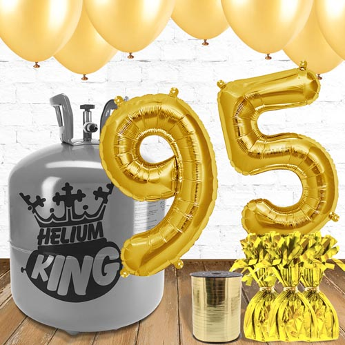 95th Birthday Helium Gas Package With Gold Balloons