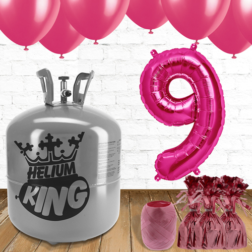 9th Birthday Helium Gas Package with Pink Balloons