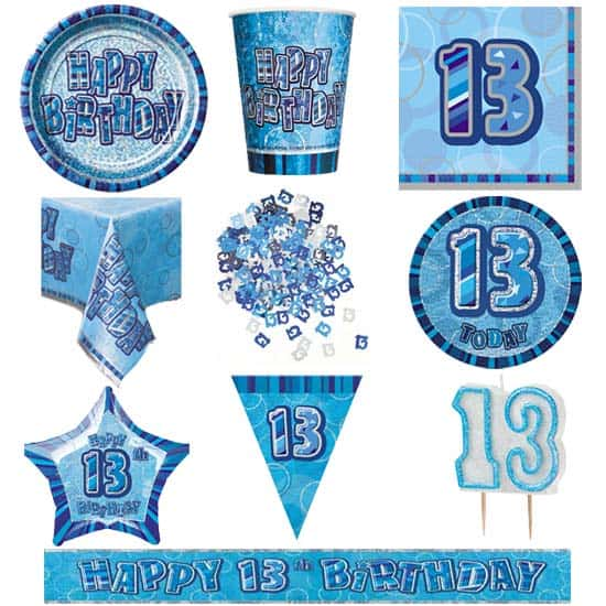 Blue Glitz 13th Birthday 8 Person Deluxe Party Pack