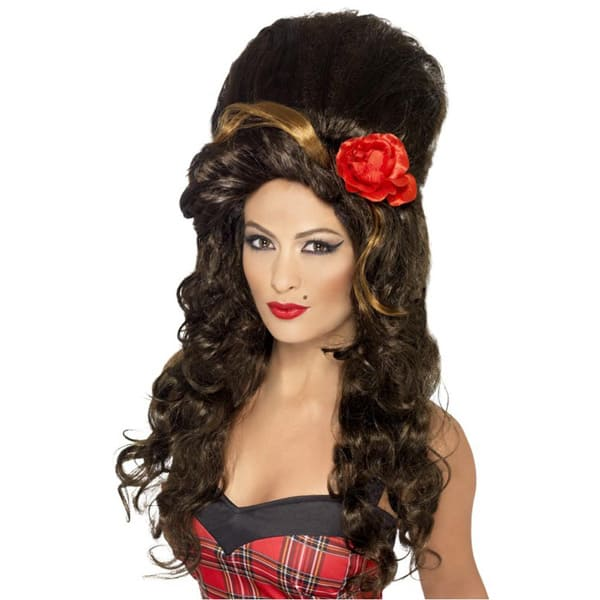 Amy Winehouse Brown Rehab Beehive Ladies Long Wig