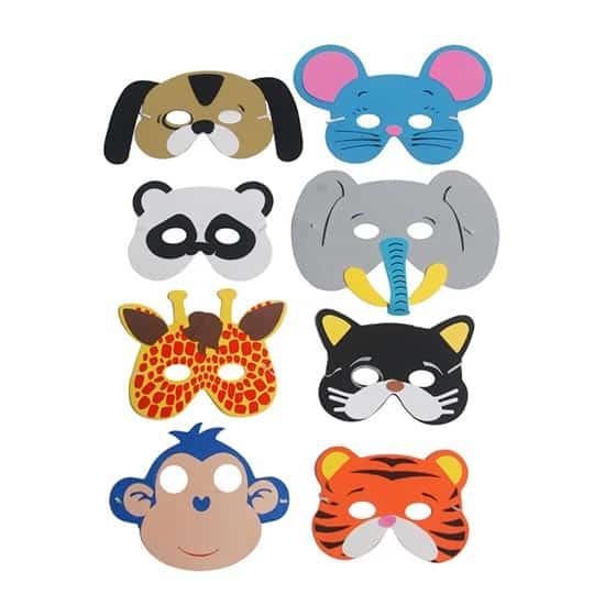 Assorted Animals Foam Masks - Pack of 8