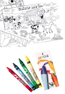 Barnyard A4 Colouring Sheet With 4 Crayons
