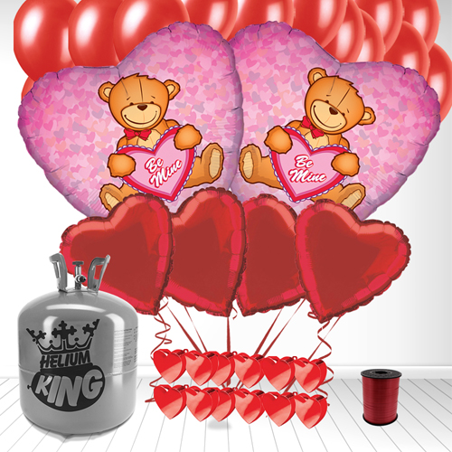 Be Mine Heart shape Valentine Balloon and Large Helium Gas Package Product Image