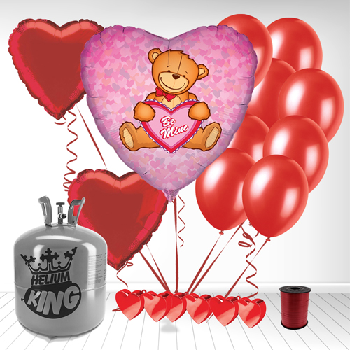 Be Mine Heart shape Valentine Balloon and Small Helium Gas Package Product Image