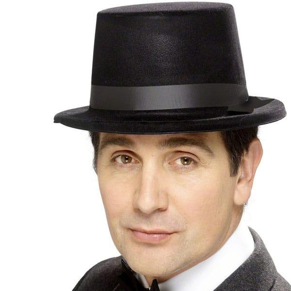 Black Flock Topper Hat