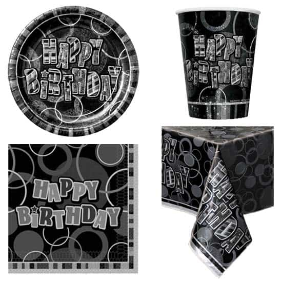 Black Glitz 8 Person Party Pack