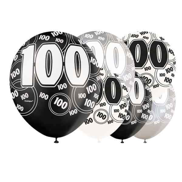 Black Glitz 100th Birthday Biodegradable Latex Balloons - 12 Inches / 30cm - Pack of 6 - Assorted Colours