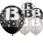 Black Glitz 13th Birthday Latex Balloons 12 Inches 30cm Pack Of 6