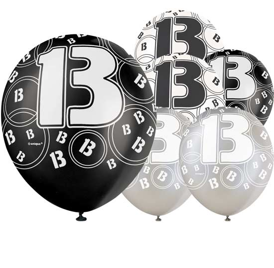 Black Glitz 13th Birthday Biodegradable Latex Balloons - 12 Inches / 30cm - Pack of 6 - Assorted Colours
