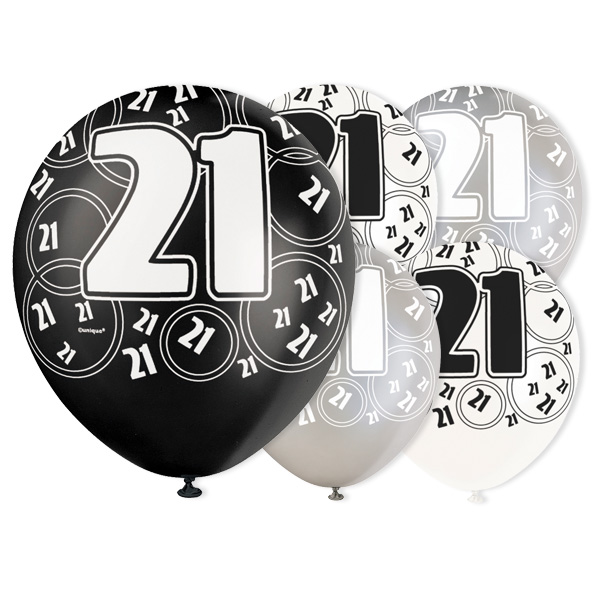 Black Glitz 21st Birthday Biodegradable Latex Balloons - 12 Inches / 30cm - Pack of 6 - Assorted Colours