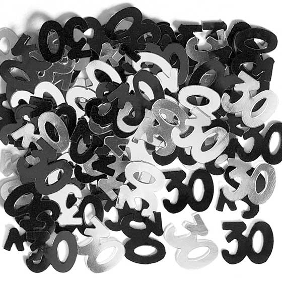 Black Glitz 30th Birthday Table Confetti - 14 Grams
