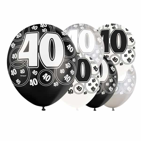 Black Glitz Age 40 Happy Birthday 12 Inch