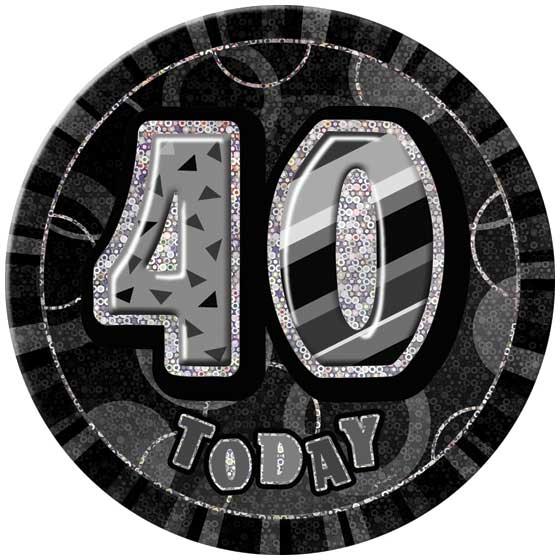 Black Glitz 40th Birthday Badge - 6 Inches / 15cm