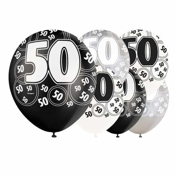 Black Glitz Age 50 Happy Birthday 12 Inch