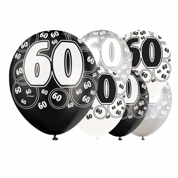 Black-Glitz-Age-60-Happy-Birthday-12-Inch-Latex-Balloons-Pack-of-6-Mixed-Colours-product-image