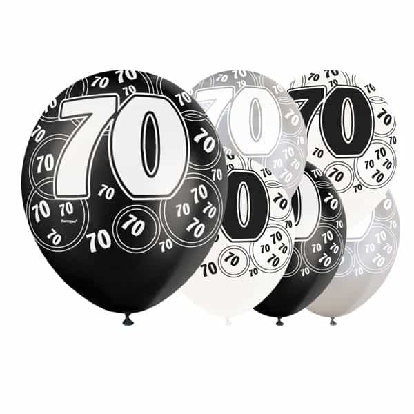 Black Glitz Age 70 Happy Birthday 12 Inch