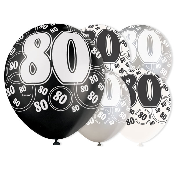 Black Glitz 80th Birthday Biodegradable Latex Balloons - 12 Inches / 30cm - Pack of 6 - Assorted Colours Product Image