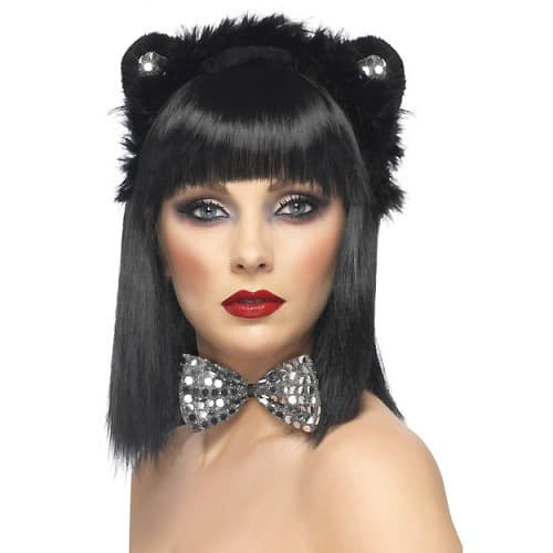 Black Sequinned Cat Ears and Bowtie Instant Fancy Dress Kit