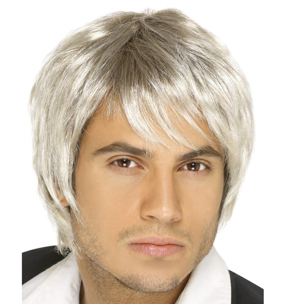 Mens Guy Boy Band Wig Blonde Short Hair 80s 70s Fancy Dress Costume Accessory