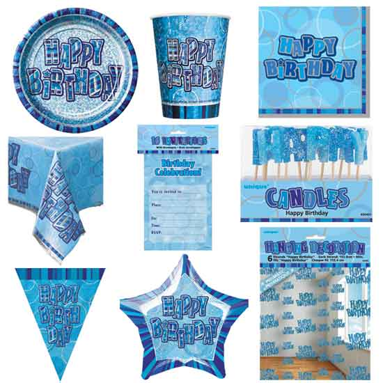 Blue Glitz  8 Person Deluxe Party Pack