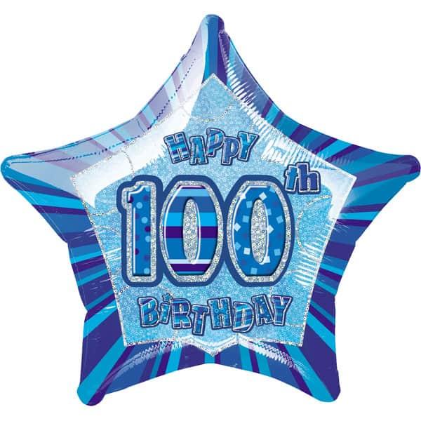 Blue Glitz Age 100 Happy Birthday Prismatic Foil Helium Balloon 51cm / 20Inch