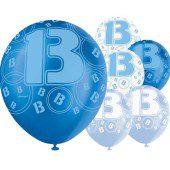 Blue Glitz 13th Birthday Latex Balloons 12 Inches 30cm Pack Of 6