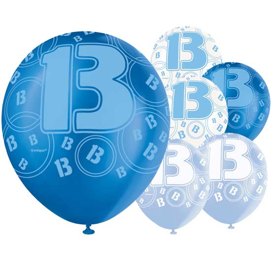 Blue Glitz 13th Birthday Biodegradable Latex Balloons - 12 Inches / 30cm - Pack of 6 - Assorted Colours