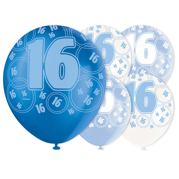 Blue Glitz 16th Birthday Biodegradable Latex Balloons - 12 Inches / 30cm - Pack of 6 - Assorted Colours