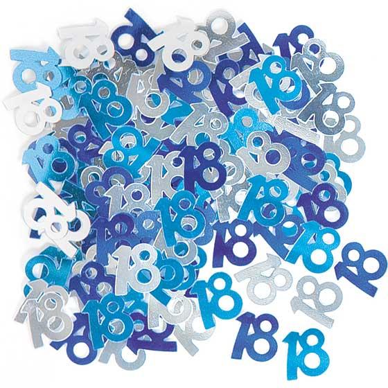 Blue Glitz 18th Birthday Table Confetti - 14 Grams