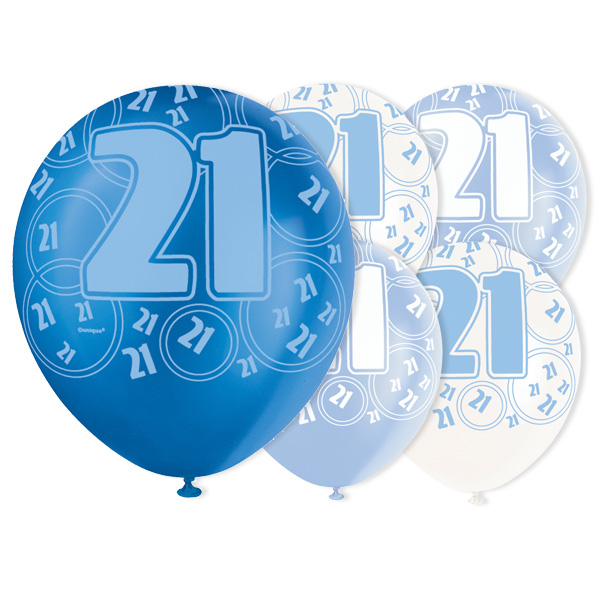 Blue Glitz 21st Birthday Biodegradable Latex Balloons - 12 Inches / 30cm - Pack of 6 - Assorted Colours