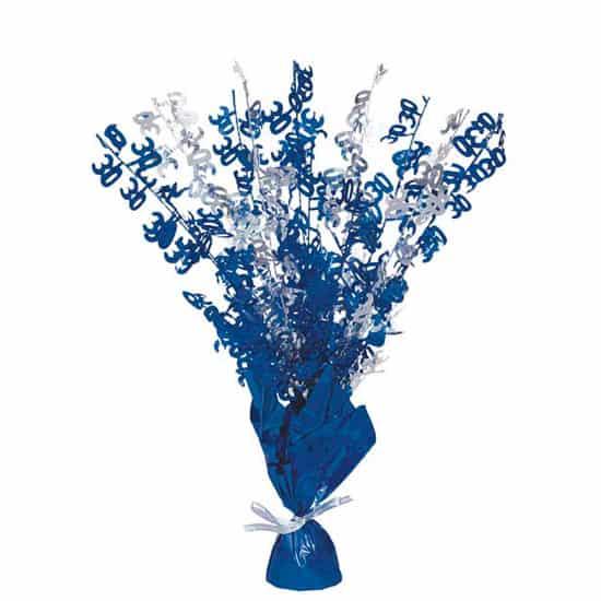 Blue Glitz 30th Birthday Balloon Weight Centrepiece