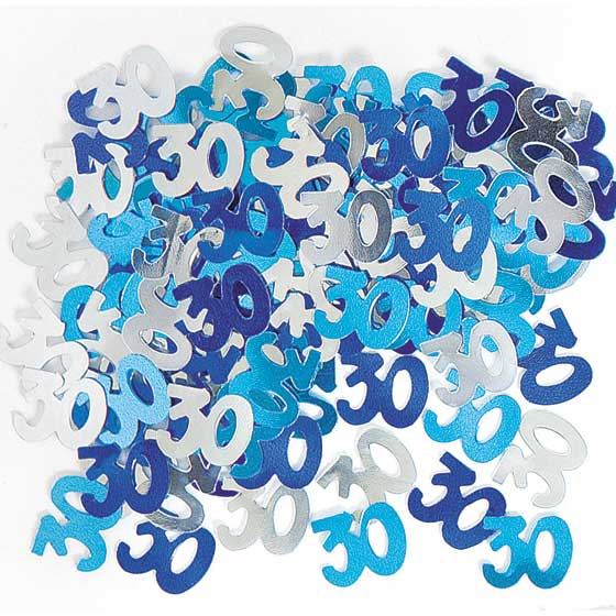 Blue Glitz 30th Birthday Party Supplies Decorations Confetti Strings Napkins