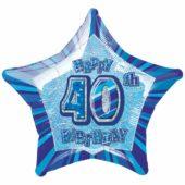 Blue Glitz Age 40 Happy Birthday Prismatic Foil Helium Balloon 51cm 20Inch