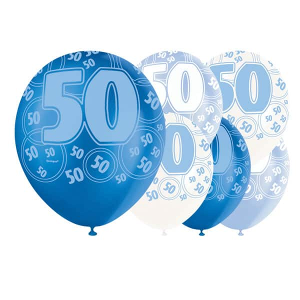 Blue Glitz 50th Birthday Biodegradable Latex Balloons - 12 Inches / 30cm - Pack of 6 - Assorted Colours