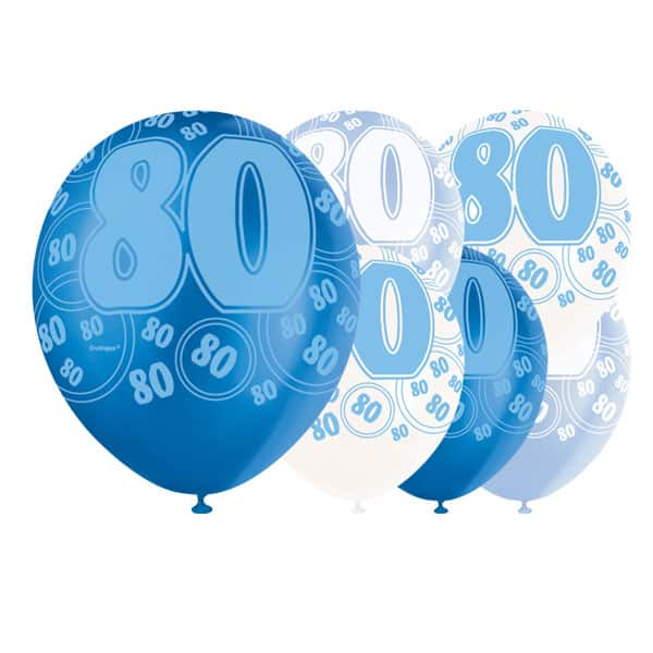 Blue Glitz 80th Birthday Biodegradable Latex Balloons - 12 Inches / 30cm - Pack of 6 - Assorted Colours